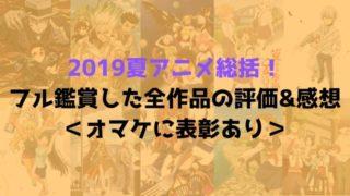 2019夏アニメ 総括 フル鑑賞 全作品 評価 感想 オマケ 表彰